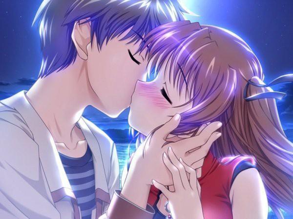 Красивые аниме картинки про любовь,  смотреть и скачать бесплатно, поцелуи аниме